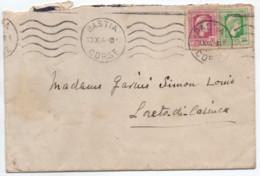 CORSE Bastia Octobre 1944 Libération Marianne D'Alger Lettre Avec Affranchissement Composé Petites Valeurs TB! - Storia Postale