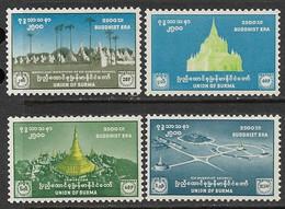 Burma  1956    Sc#159-62   Bhuddist Era Set   MLH    2016 Scott Value $4.55 - Myanmar (Birmanie 1948-...)