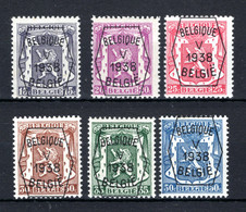 PRE357/362 MNH** 1939 - Klein Staatswapen Opdruk Type A - REEKS 5 - Typo Precancels 1936-51 (Small Seal Of The State)