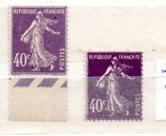 FRANCE N° 236 40c VIOLET TYPE SEMEUSE CAMEE 2 NUANCES NEUF SANS CHARNIERE - Curiosità: 1921-30  Nuovi