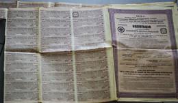 Russie 5 Obligations De 500 Francs De La Compagnie Du Chemin De Fer D'Atchinsk-Minoussinsk Avec 31 Coupons 1914 - Railway & Tramway
