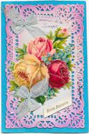 Belle Cpa Dentelée, Gaufrée, à Décor De Bouquet De Roses Et Myosotis En Découpis - Zonder Classificatie