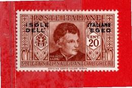 (Riz) Isole Italiane Dell'EGEO**- 1933 - DANTE ALIGHIERI. 20 C. Unif. 46.  MNH - Aegean