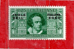 (Riz) Isole Italiane Dell'EGEO**- 1933 - DANTE ALIGHIERI. 25 C. Unif. 47.  MNH - Aegean
