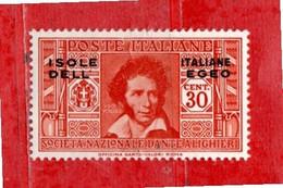 (Riz) Isole Italiane Dell'EGEO**- 1933 - DANTE ALIGHIERI. 30 C. Unif. 48.  MNH - Aegean