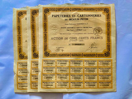 PAPETERIES  Et  CARTONNERIES  Du  MOULIN-PICON ---------Lot  De  3  Actions  De  500 Frs - Industrie