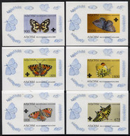 Abkhazia 1995 Butterflies (with Scout Emblem) Set Of 6 Imperf Sheetlets Unmounted Mint - Europe (Other)