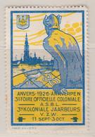 Anvers Foire Officielle Coloniale   1926 Vignette - Commemorative Labels