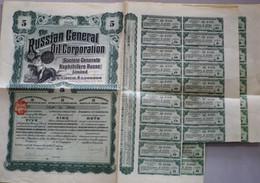 Russie Titre Au Porteur De Cinq Actions The Russian General Oil Corporation Avec 18 Coupons (2 Actions) 1912 - Oil