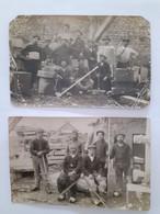 2 Cartes Photos De 1917 De Tailleurs De Pierre  Certainement à Volvic, Métier, Auvergne - Volvic