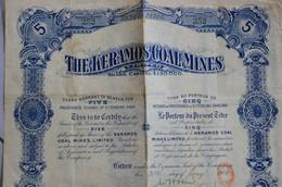 Titre Au Porteur De Cinq Actions The Keramos Coal Mines Avec Ses 24 Coupons 1910 Grèce - Mines