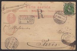 Suisse : CP Entier 10c  CHARGE Affranchi Avec 25 Centimes Type Helvétia Debout Oblt CàDate GENEVE > PARIS - Briefe U. Dokumente