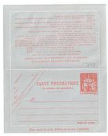 Entier Carte Lettre Pneumatique 1,50 F Chaplain Orange  Papier Gris Bleu  Storch V10   Yv 2617 - Neumáticos
