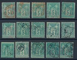 """EA-118: FRANCE: Lot Avec """"SAGE"""" N°75 (15) Obl Imprimés Et Jour De L'an - 1876-1898 Sage (Type II)"""