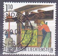 "Timbre Du Liechtenstein Série Travail Du Viticulteur En Automne De 2003 Tp  "" Octobre, Presser "" - Tp Oblitérés - Gebruikt"
