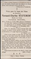 ABL, Kestemont Né à Tubize 1889 , Blessé à Trlemont 1914 Décédé à Soltau ( Allemagne ) En1918 - Todesanzeige
