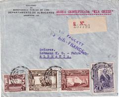 PERU 1938 LETTRE RRCOMMANDEE DE LIMA AVEC CACHET ARRIVEE - Peru