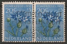 Netherlands 1952 Sc B242  Pair Used - Gebruikt