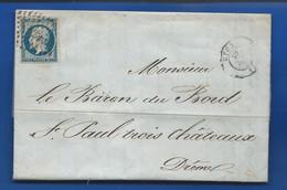 Lettre Avec Timbre  Napoléon N° 14 Oblitération:  Lyon 19 Juil 1855 - 1849-1876: Classic Period