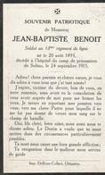 ABL, Benoit Jean - Batiste , Soldat Au 13e De Ligne - Décédé à Soltau 1915 ( Allemagne ) - Todesanzeige