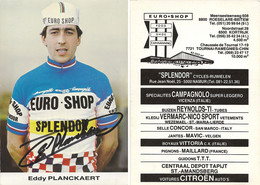 CARTE CYCLISME EDDY PLANCKAERT SIGNEE TEAM SPLENDOR 1983 - Cycling