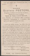ABL , Peeters Né à Vilvorde 1886 Décédé à Hülseberg( Allemagne ) 1918 , Artillerie De Forteresse - Obituary Notices