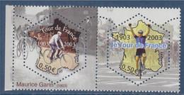 Cyclisme Centenaire Du Tour De France Maurice Garin Et Coureur De 2003 à L'arrivée Paire N° 3582 Et 3583 Neufs Gommés - Ungebraucht