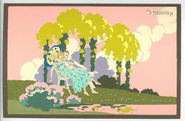 "PRIMAVERA D'AMORE ----  ""Ars Nova""  - G. MESCHINI --- (Dipinta A Mano) --- Carte Peinte --- Série N° 254 --- - Other Illustrators"