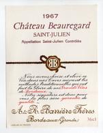 - ETIQUETTE CHATEAU BEAUREGARD 1967 - SAINT-JULIEN - Barrière Frères, Bordeaux - - Bordeaux