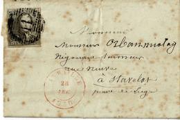 """Lettre, LAC De Aywaille à Stavelot, épaulettes 10c, N°1, 1850, Lettre Avec Taches De """"rouille"""" Voir Scan (7x10.5) - 1849 Epaulettes"""