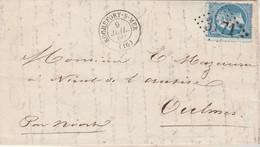Yvert 22 Lettre ROCHEFORT S Mer 9/7/1866 GC 3171 Pour Oulmes Vendée Cachet Perlé + Bureau Passe Type A 2660 Niort - Poste Ferroviaire