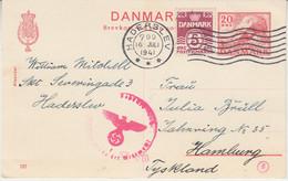 Dänemark - 20 Ö. Hünengrab Ganzsache+Zusatz Haderslev - Hamburg 1941 OKW-Zensur - Postwaardestukken