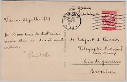 Österreich - 24 Gr. Steinadler, Karte N. BRASILIEN, Wien - Rio De Janeiro 1929 - Covers & Documents