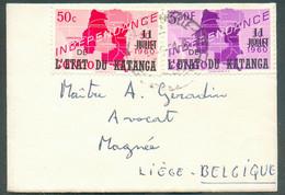 N°41-45 Obl. ScELISABETHVILLEsur Enveloppe Carte De Visite (petit Format, Avec Son Contenu) Du 8-6-1961 Vers Liège. - - Katanga