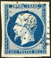 YT 14A LPC 1484 Haguenau Bas-Rhin (67) (°) Obl 1853-60  Napoléon III Type I TTB 20c Bleu, France – Fggy - 1853-1860 Napoléon III