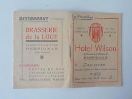Ancienne Pub Avec Feuillets Hôtel Wilson Perpignan Pub Restaurant Brasserie De La Loge Perpignan - Perpignan