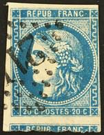 YT 46B Avec Voisin (°) Obl 1870-71 Filet NE Touche  Bordeaux 20c Type III R2 (25 Euros) France – 4bleu - 1870 Bordeaux Printing