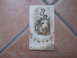 Immagine Sacra Devotion Image Regina Decor Carmeli Ed. EB 509 Cornice Zigrinata Madonna Bambino Al Verso SALVE REGINA - Devotion Images