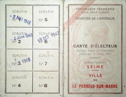 H 5 Facture/document /lettre Carte D'électeur  De La Seine - Non Classificati
