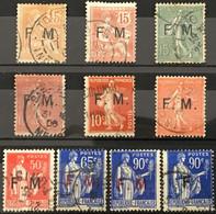 YT 1 à 10 (°) Obl Franchise Militaire 15c Mouchon Semeuse Lignée, 10c Semeuse, Paix (côte 37 Euros) – Flo - Franchise Stamps