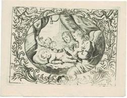 NATIVITE - Oude Kopergravure / Ancienne Gravure Sur Cuivre /  Old Copperplate  - Grav. HUBERTI  -  13 X 10 Cm. - Santini