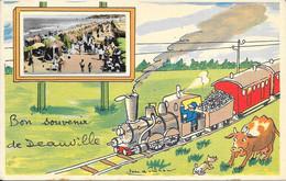 FRANCE - 14 - BON SOUVENIR DE DEAUVILLE - ED. JEAN PIERRE - GOOD FRANKING 1955 - Deauville