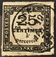 Taxe YT 5 Type II (°) Obl 1871-78 25c Noir Typographié Pas D'aminci (côte 65 Euros) France – Flo - 1859-1955 Used