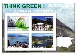 ABKHAZIA - Break-Away State - 2016 - Europa, Think Green - Imperf 4v Souv Sheet - M N H - Private Issue - Georgia
