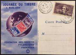 YT 382 Louis-Hector Berlioz Carte Fédérale Journée Du Timbre 5.3.1939 Rennes (côte > 30 Euros) – 4bleu - ....-1949
