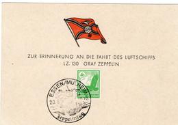 Sonderkarte Deutsches Reich Luftschiff LZ 130 Graf Zeppelin Sst. Essen Mülheim 20.8.1939 Zeppelintag - Zonder Classificatie