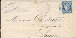 Obliteration Tonnay Charente - Charente Inferieure Sur N 46 -fragment Lettre Non Entiere - 1870 Bordeaux Printing