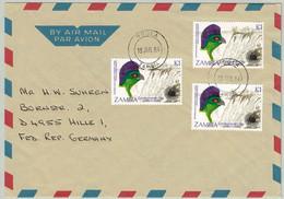 Zambia 1984, Luftpostbrief Ndola - Hille (Deutschland), Turako, Viktoria-Fälle - Cuckoos & Turacos