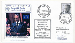 BELGIQUE - FDC - 15F Timbre De Deuil - Hommage à Sa Majesté Baudoin 1er Roi Des Belges - 17/08/1983 + Conseil Europe - Covers & Documents