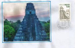 Temple De Tikal, Guatemala, Patrimoine Mondial De L'UNESCO., Sur Lettre - Covers & Documents